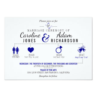 Timeline Dark Blue Wedding Invitation