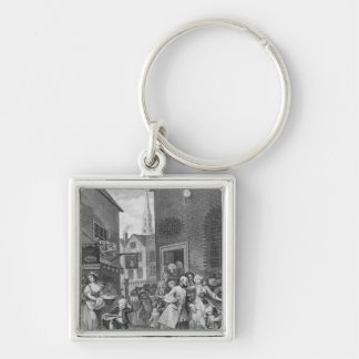 Times of the Day, Noon, 1738 Silver-Colored Square Keychain