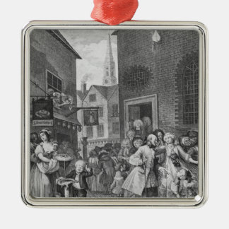 Times of the Day, Noon, 1738 Silver-Colored Square Ornament