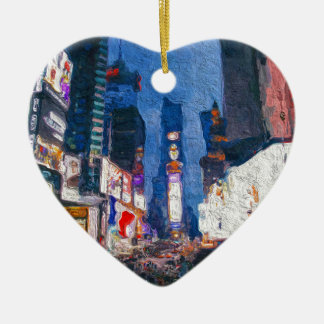 Times Square at Night Painting Ceramic Ornament