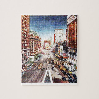 Times Square at Nigth Vintage Print Puzzle