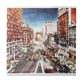 Times Square at Nigth Vintage Print Tiles