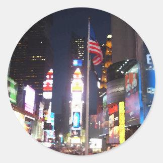 """Times Square, New York City, USA""  CricketDiane A Round Sticker"