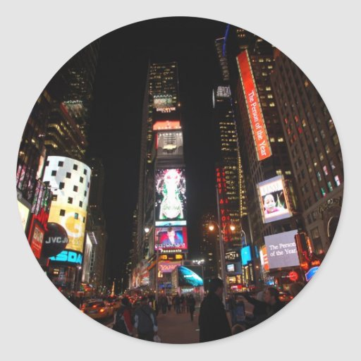 Times Square Round Stickers