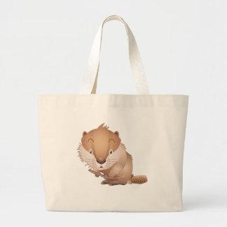 Timid Beaver Large Tote Bag