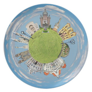 timisoara city romania tiny little planet landmark dinner plate