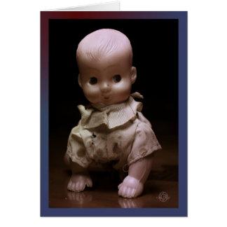 Timmy, the creepy Halloween doll, crawls forth. Card