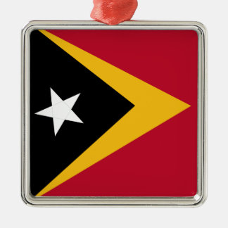 Timor leste flag Silver-Colored square ornament