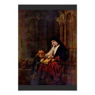 Timothy And His Grandmother By Rembrandt Harmensz. Poster