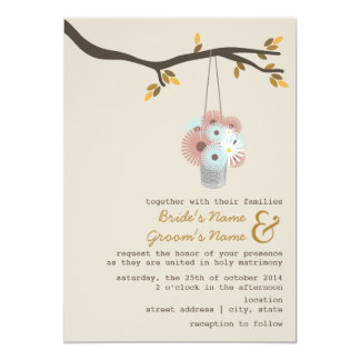 "Tin Can Of Daisies Fall Wedding 5"" X 7"" Invitation Card"