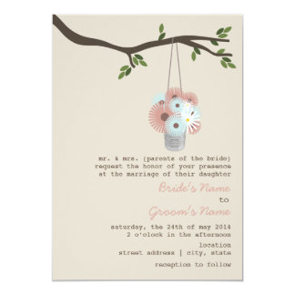 "Tin Can Of Daisies Wedding 5"" X 7"" Invitation Card"