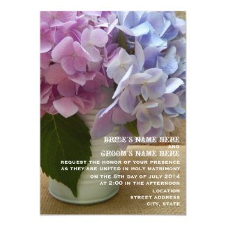 "Tin Can Of Hydrangeas Rustic Wedding 5"" X 7"" Invitation Card"