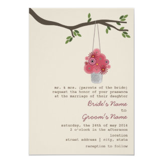 """Tin Can Of Red Flowers Wedding 5"""" X 7"""" Invitation Card"""