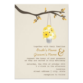 "Tin Can Of Wildflowers Fall Wedding 5"" X 7"" Invitation Card"