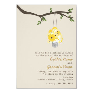"Tin Can Of Wildflowers Rehearsal Wedding 5"" X 7"" Invitation Card"
