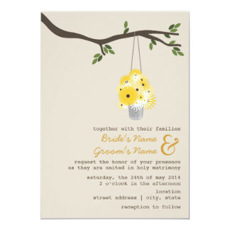 "Tin Can Of Wildflowers Wedding 5"" X 7"" Invitation Card"