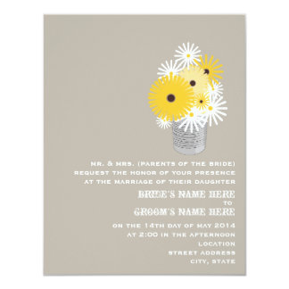Tin Can Of Wildflowers Wedding Invite