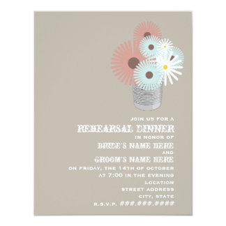 "Tin Can Peach & Blue Floral Rehearsal Dinner 4.25"" X 5.5"" Invitation Card"