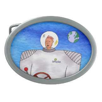 Tin Can Space Man Oval Belt Buckles