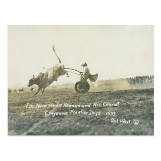 Tin Horn Hank Keenan and his chariot. Postcard