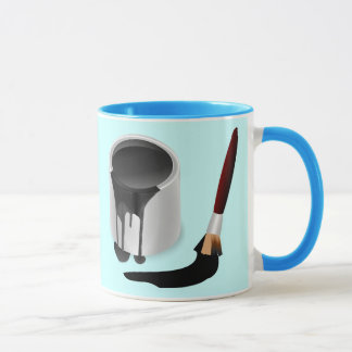 TIN OF BLACK PAINT & BRUSH MUG