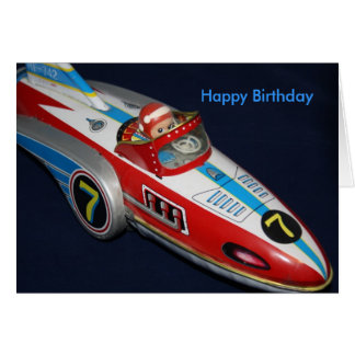 Tin Toy Rocket/Space Ship  Happy Birthday Card