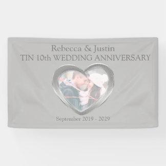 Tin Wedding anniversary heart photo banner