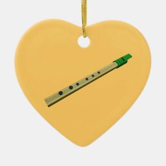 Tin Whistle Gold Green Birthday Christmas Heart Ceramic Heart Ornament