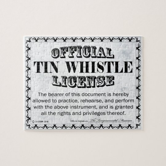 Tin Whistle License Jigsaw Puzzle
