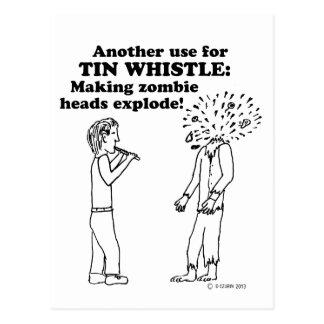 Tin Whistle Zombie Explode Postcard