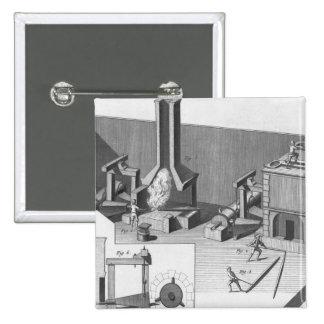 Tin workshop, engraved by Benard, Robert 2 Inch Square Button