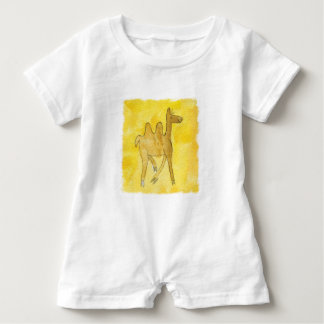 Tinca's Drawings. Childish Watercolor with Camel Baby Romper