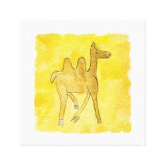 Tinca's Drawings. Childish Watercolor with Camel Canvas Print