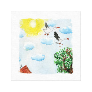 Tinca's Drawings. Childish Watercolor with Swans Canvas Print