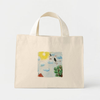 Tinca's Drawings. Childish Watercolor with Swans Mini Tote Bag