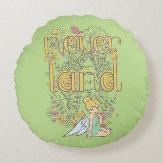 Tinker Bell in Neverland Forest Round Pillow