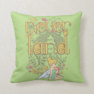 Tinker Bell in Neverland Forest Throw Pillow