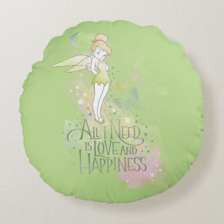 Tinker Bell Love And Happiness Round Pillow