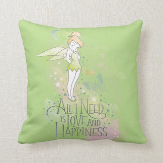 Tinker Bell Love And Happiness Throw Pillow