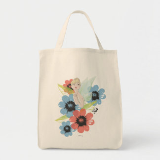 Tinker Bell Sketch With Cosmos Flowers Grocery Tote Bag
