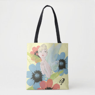 Tinker Bell Sketch With Cosmos Flowers Tote Bag