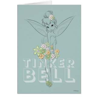 Tinker Bell Sketch With Jewel Flowers Card