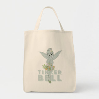 Tinker Bell Sketch With Jewel Flowers Grocery Tote Bag