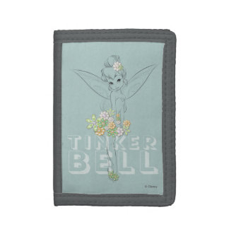 Tinker Bell Sketch With Jewel Flowers Trifold Wallet