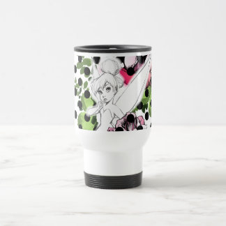 Tinker Bell Sketch With Roses and Polka Dots 15 Oz Stainless Steel Travel Mug