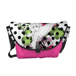 Tinker Bell Sketch With Roses and Polka Dots Messenger Bags
