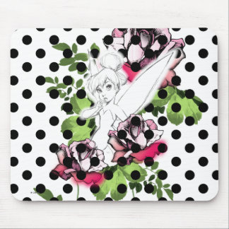 Tinker Bell Sketch With Roses and Polka Dots Mouse Pad