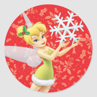 Tinker Bell With Snowflake Classic Round Sticker