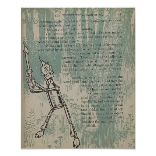 Tinman Vintage Story Book Page Poster