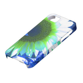 tinted pretty sunflower - blue iPhone 5 case